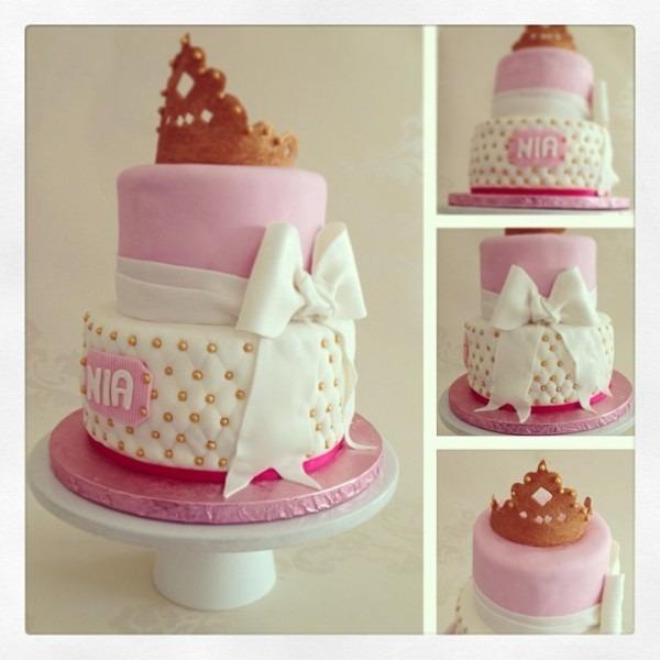 Princess Nia's Pink & Gold Princess Cake  Top Tier