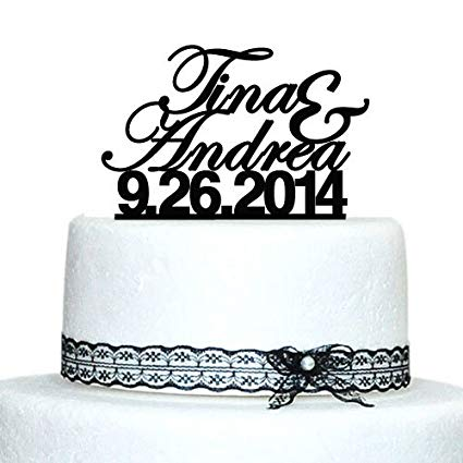 Amazon Com  Custom Wedding Cake Topper, Personalized Name Cake