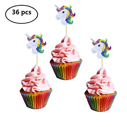 Amazon Com  Joy Day Unicorn Cupcake Toppers Horn Cake Toppers