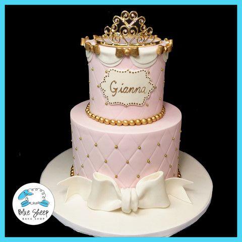 Pink And Gold Princess 1st Birthday Cake Nj