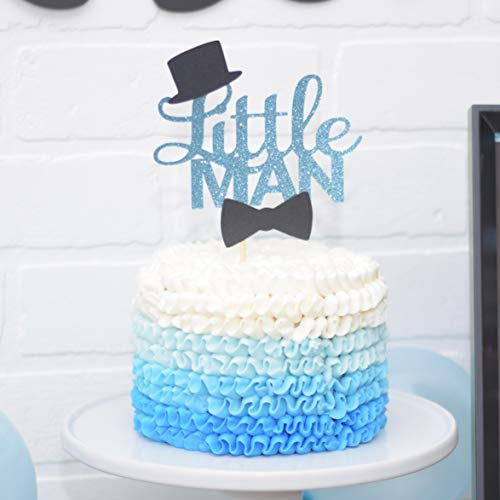 Amazon Com  Blue And Black Little Man Baby Shower Cake Topper