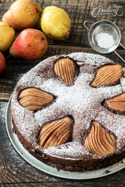 Almond Chocolate Pear Cake    Home Cooking Adventure