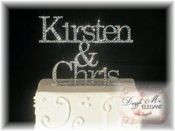 Bride & Groom Custom Name Crystal Rhinestone Wedding Cake Topper
