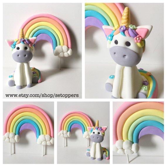 Unicorn Party Unicorn Cake Topper Rainbow Fondant Cake