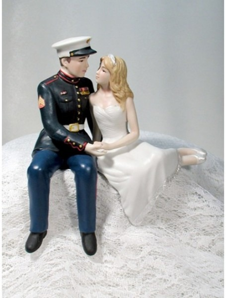 Marine Bride Groom Personalized Wedding Cake Toppers