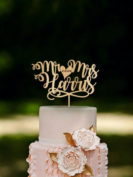 Mr And Mrs Cake Topper, Custom Name Cake Toppers, Unique Wedding