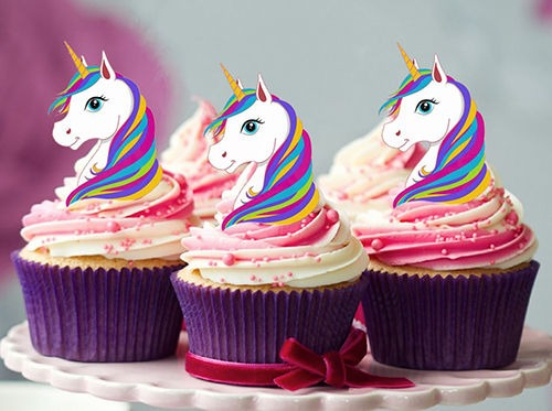 12 Stand Up Large Rainbow Unicorn Edible Cupcake Cake Decoration