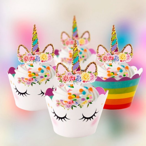 24pcs Rainbow Unicorn Cupcake Toppers Kids Birthday Party Cake