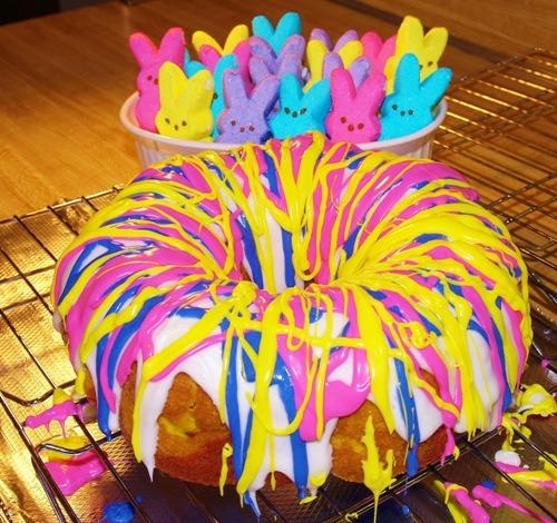 Rainbow Bundt Cake Plus Bonus Peeps!