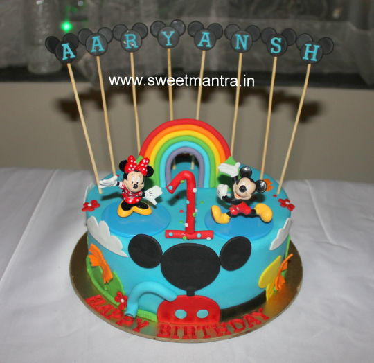 Mickey Mouse Club House Theme Small Designer Cake For 1st Birthday