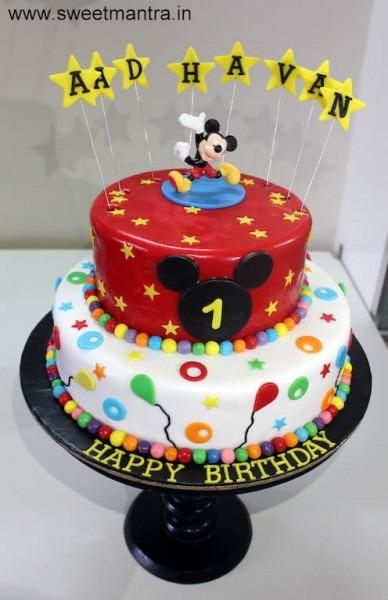 Disney Mickey Mouse Theme 2 Layer Designer Fondant Cake For Boy's