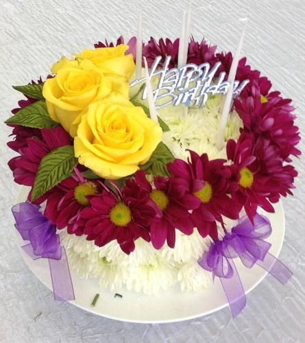Flower Birthday Cake Of Daisies And Roses In New City, Ny