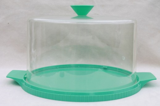 50s 60s Vintage Cake Keeper, Turquoise Plastic Plate & Clear Cake