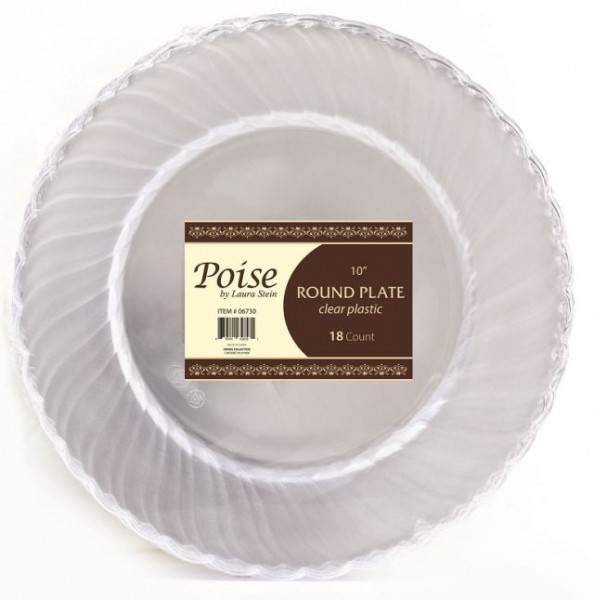 6quot; Poise Clear Scalloped Plastic Cake Plates 18ct, Plastic