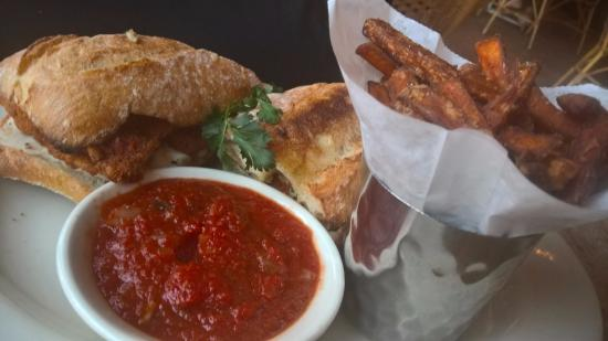 Chicken Parmesan Sandwich And Sweet Potato Fries