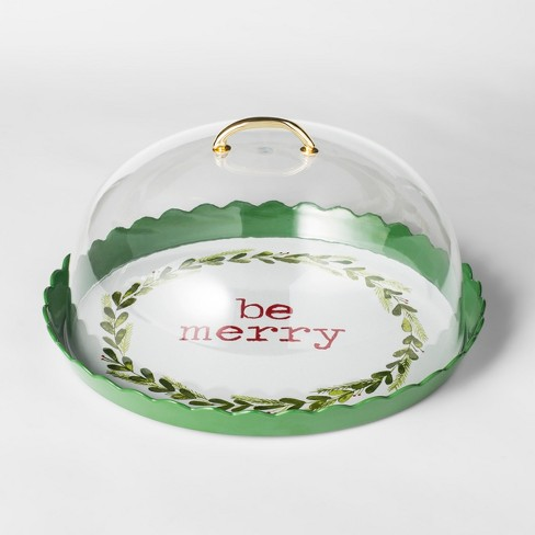 12 3  Plastic Be Merry Cake Plate With Cover Green   Target