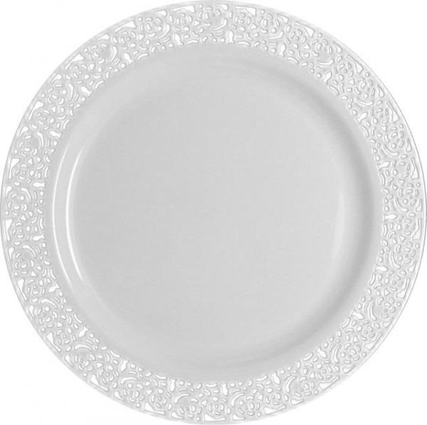 Inspirational 7  White W  Silver Lace Border Salad   Cake Plastic