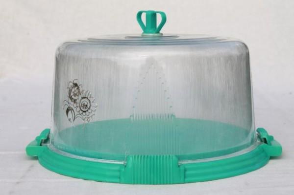 Vintage Aqua Turquoise Blue Plastic Cake Keeper Saver, Cake Plate