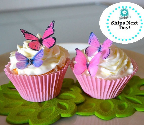 Wedding Cake Topper 12 Small Pink And Purple Edible Buttterflies