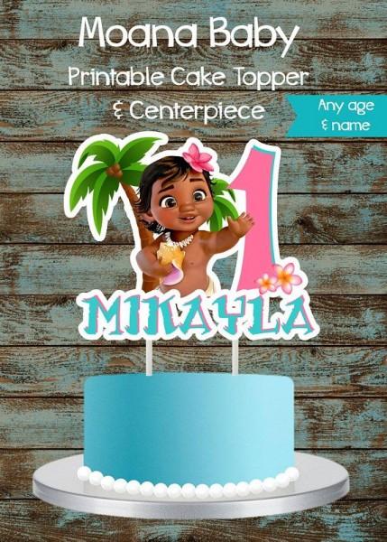Moana Baby Cake Topper, Moana Cake Topper, Printable Moana