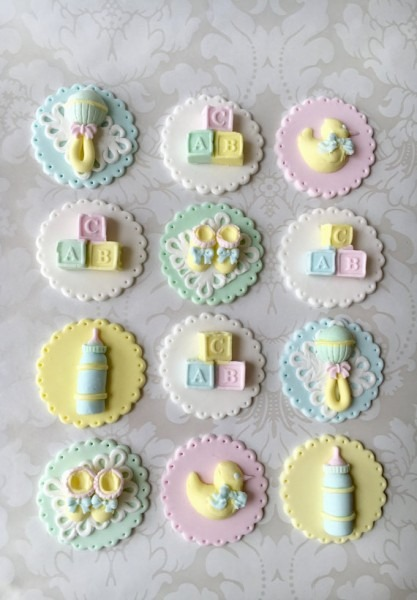 Baby Shower Fondant Cupcake Toppers  Edible Baby Shower Cupcake