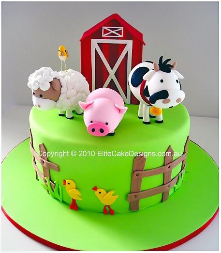 Farm Animals Birthday Cake, 1st Birthday Cakes Sydney Australia