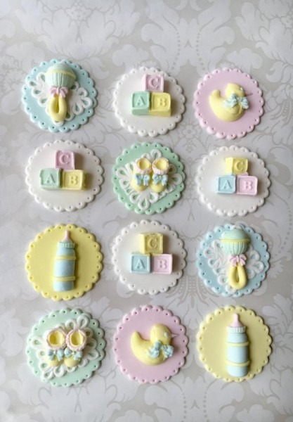 Baby Shower Fondant Cupcake Toppers  Edible Baby Shower