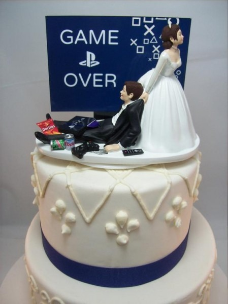 Game Over Playstation Funny Wedding Cake Topper Video Game