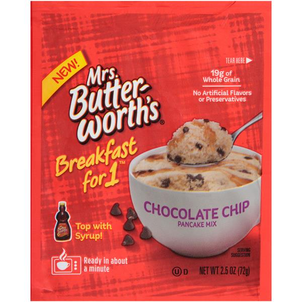 Mrs  Butterworth's Breakfast For 1 Chocolate Chip Pancake Mix