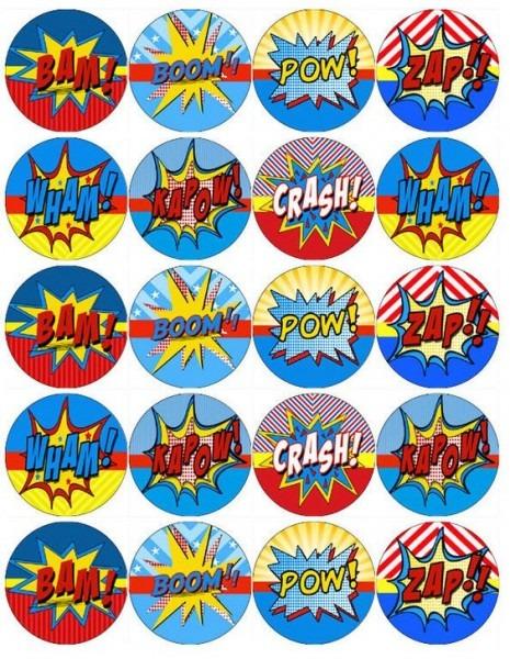Pow,zap, Spiderman, Batman, Wonder Woman Cupcake Toppers X 20