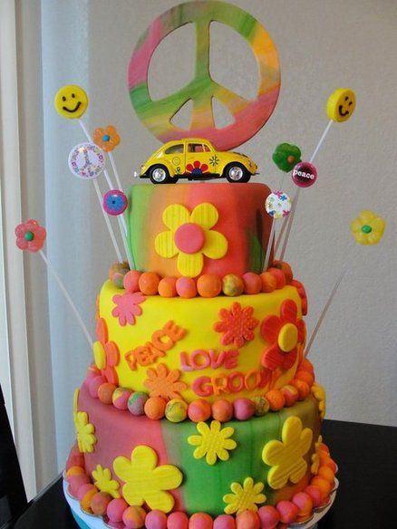 1960's Flower Power Cake Cake By Susan