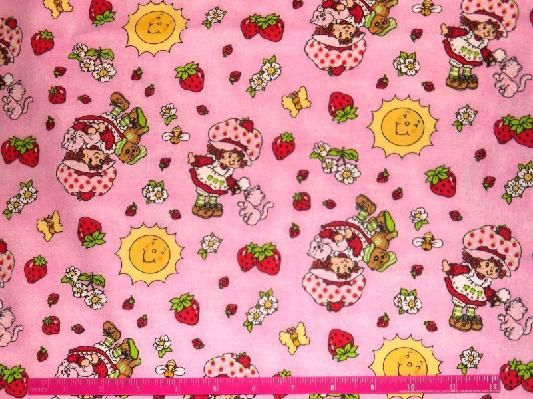 1 Yard Antique Strawberry Shortcake Fabric Pink C Sunflowers