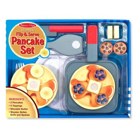 Melissa & Doug Wooden Flip & Serve Pancake Set, Beige