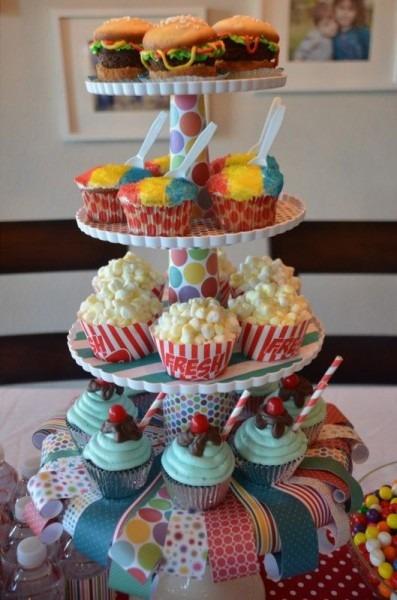 Carnival Party Cupcakes 2013  Popcorn Cupcakes , Burger Cupcakes