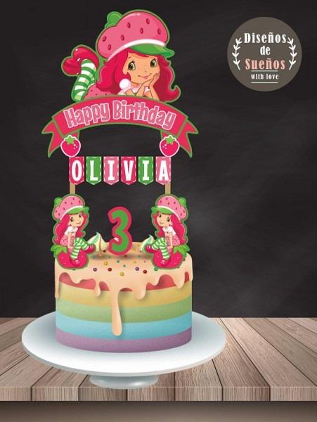 Strawberry Shortcake Cake Topper, Strawberry Birthday, Strawberry
