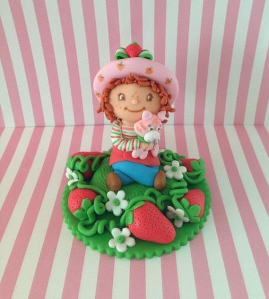 Strawberry Shortcake Fondant Cake Topper, Birthday, Edible