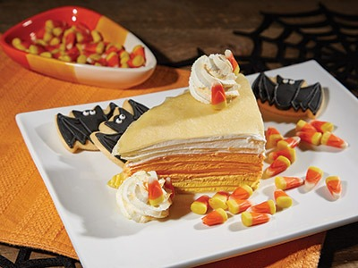 Candy Corn Crepe Cake