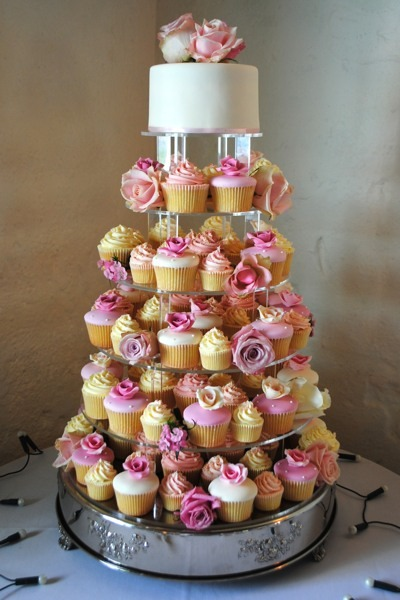 8 Tiered Birthday Cakes With Cupcakes On Top Photo