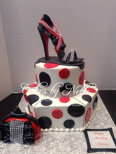 Red & Black Diva Birthday Cake  Cakes By Nette Bakery  St  Louis