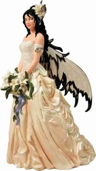 Fantasy Couture Dark Haired Fairy Bride Wedding Cake Topper