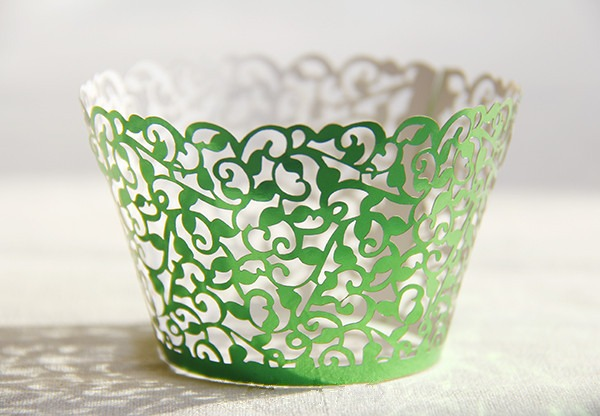 Free Shipping Green Lace Fancy Flower Wedding Cupcake Wrappers