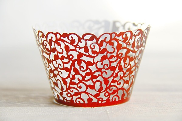 Free Shipping Red Lace Fancy Flower Wedding Cupcake Wrappers