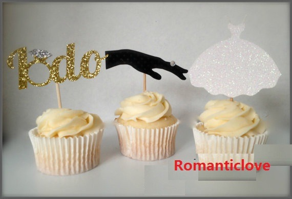 Glitter Engagement Cupcake Toppers Wedding Bridal Shower Party