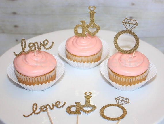 Gold Glitter Love I Do Engagement Ring Cupcake Toppers Bridal