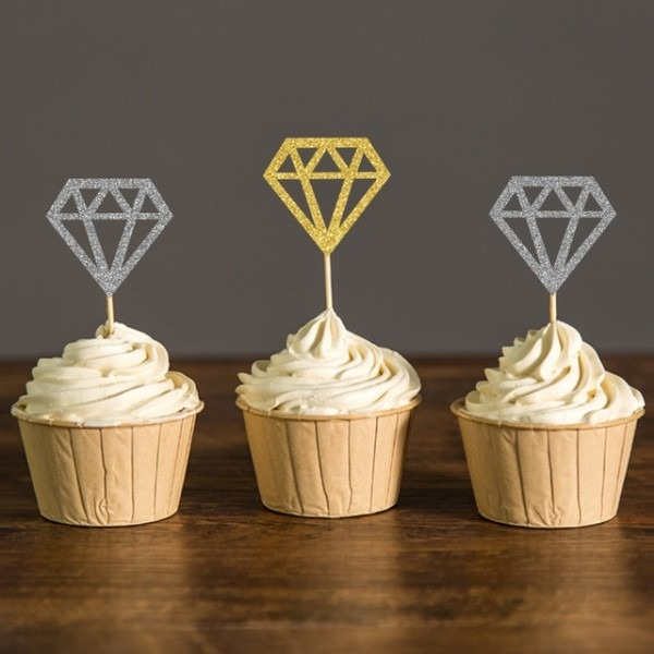 Gold&silver Glitter Diamond Donut Cupcake Toppers Bridal Shower