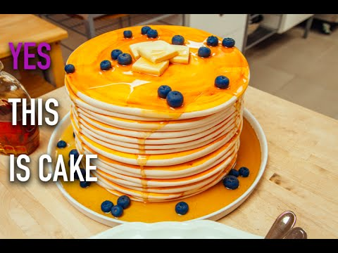How To Make A Stack Of Giant Blueberry Pancakes Out Of Cake! With