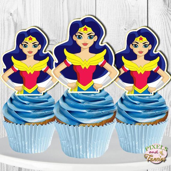 Wonder Woman Cupcake Toppers Dc Super Hero Girls Cupcake