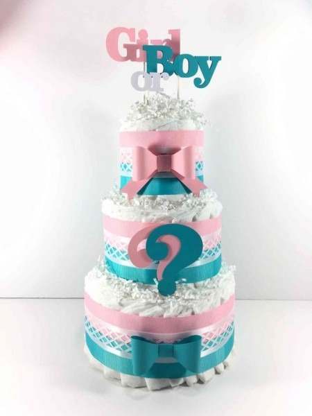 Pink & Blue Gender Reveal Diaper Cake Centerpiece For Gender