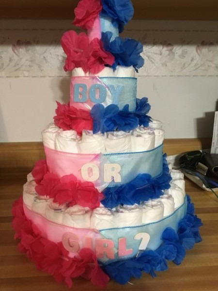 Gender Reveal Diaper Cake