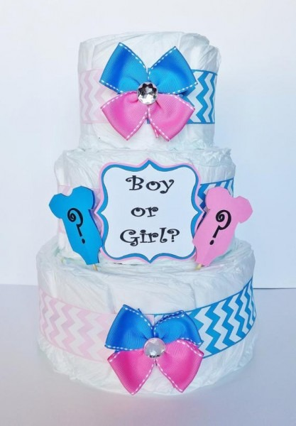 Gender Reveal Diaper Cake Boy Or Girl Baby Shower